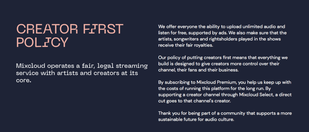 Mixcloud creator first policy
